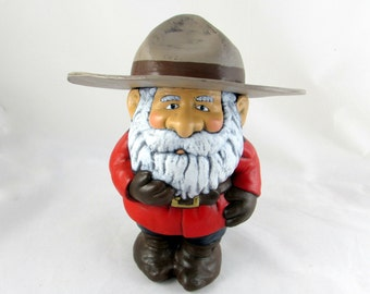 Ceramic Canadian Mountie Garden Gnome - 12.5 inches, hand painted lawn or garden gnome, outdoor or indoor