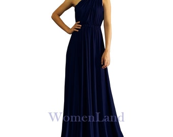 Navy Blue Custom Handmade Infinity Wrapping Convertible Bridesmaid Dress Floor Length Evening Gown Tailor Made Bespoke Women Long Dresses