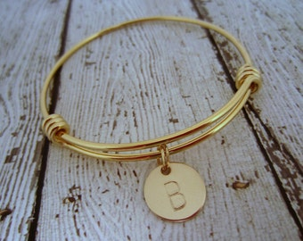 Gold Initial Bracelet, Initial Bracelet, Gold Charm Bracelet, Personalized Gold Jewelry, Personalized Bridesmaid Gift, Gift for Bridal Party