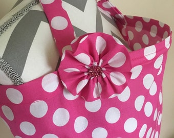Pink Nursing Cover - hot pink polka dots nursing cover with a fabric flower clippie - Ready to ship