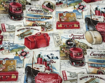 Red White & Blue Quilters Cotton Material, Travel Transportation Fabric for Quilting, Sewing or Crafting, Train, Airplane, Ship, Auto #475
