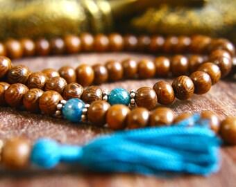Wood and Gemstone Mala Apatite Prayer Beads 108 Mala Beads Japa Mala Meditation Jewelry Silk Tassel Necklace Sterling Silver Unknotted Mala