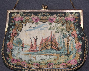 VINTAGE EVENING PURSE Black Tapestry style with Country Scene & Chain Handle