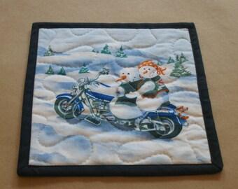 Motorcycle Snowman Mug Rug, Snack Mat, Fabric Coaster, Pot Holder, Trivet, Secret Santa, Biker Couple, Harley, Hostess Gift, Gifts Under 10