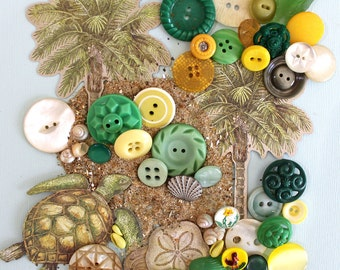 Sand Between My Toes*Green and Yellow Vintage Button Pack*Beach Inspiration Kit