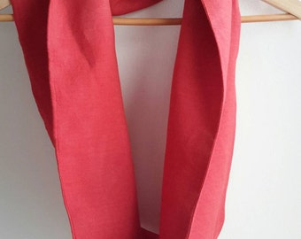 Red Linen Infinity Scarf