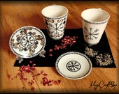 Witch TEA CUP with VEGVISIR composed by mug and plate - totally handmade and customizable - choose the pattern