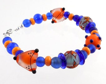 Orange and Blue Modern Beaded Lampwork Bracelet, Lampwork Jewelry, Glass Beads Bracelet, Art Glass Jewelry