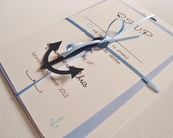 Personalised Anchor Nautical Themed Ribbon Tied Wedding Invitation and RSVP Sample