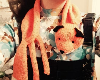 Lovely hand knitted fox scarf