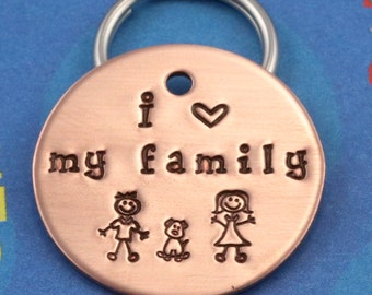 Dog Name Tag - Unique Handstamped Pet Tag - Personalized - I Heart My Family