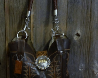 Brown cowboy boot purse with belt buckle