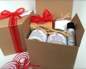 Peppermint Spa Gift Set, New Mom Bath Set, Soap Gift Set with Soap, Lotion, Sugar Scrub, Bath Salts and Lip Balm