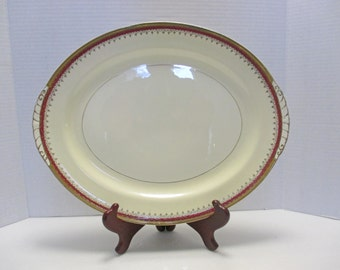 Homer Laughlin Cardinal  N1642 Red Band with Gold Trim Pattern Eggshell Nautilus Shape - Large Oval Platter 1940s