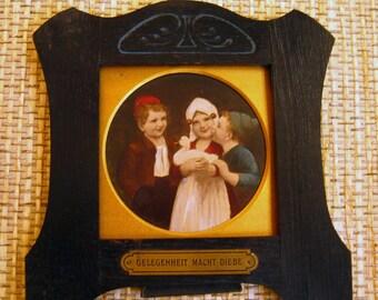 """Vintage German Child Print on Wood """"Gelegenheit Macht Diebe"""""""