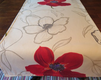 "Table Runner , 100% cotton.60"" long or 84"" long.Width is 10"".French Provence, France. Wedding gift.Big red Poppies in white background"