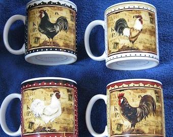 Sakura Retro Rooster Mugs Four Pristine Kimberly Poloson Design
