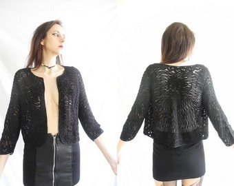 90's goth/grunge black lace/swirling applique cropped jacket.