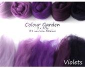 Purple Merino Shade sets - 21 micron Merino wool - 100g - 3.5oz - 5 x 20g - Colour Garden- VIOLETS