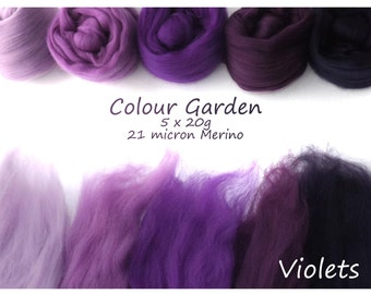 Purple Merino Shade sets - 21 micron Merino wool - 100g - 3.5oz - 5 x 20g - Colour Garden- VIOLETS