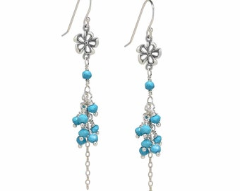 Sleeping Beauty Turquoise Earrings, Silver Dangle Earrings, Cascading Earrings