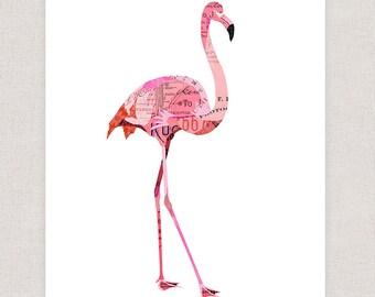 Flamingo Art Print - Collage Illustration Print - Home Decor Print