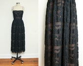 Vintage 1970s black LACE dress // small DESIGNER evening gown // Anthony Muto spaghetti strap formal dress
