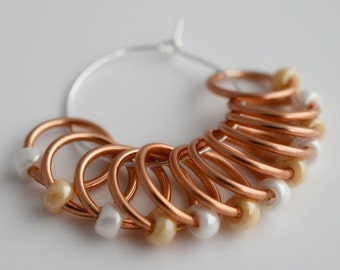 Large Peach Ivory - Snagless - Dangle and Snag Free -  Stitch Markers - Light Weight