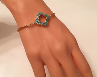 Gold Plated Turquoise  Bracelet with Elevator Lock ,Bracelets,Gold Jewelry,Summer Elegant Jewelry,Gold Bracelet,Blue Charn Bracelet