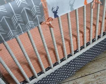 Boy Tomahawk Crib Bedding in Navy, Orange, Gray, Modern, Arrow, shower gift, rail cover