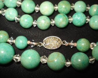 Vintage Antique AMAZONITE Graduating Bead Necklace with Crystal Spacers and Silver End Clasp