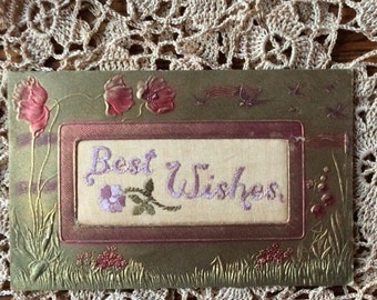 Antique Postcard Fabric and Embroidery Gold with Poppies