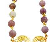 Handmade Lilac Gemstone and Gold Filled Spiral Delicate Necklace