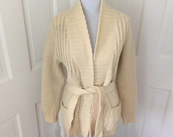 70's off-white 100% wool belted wrap sweater