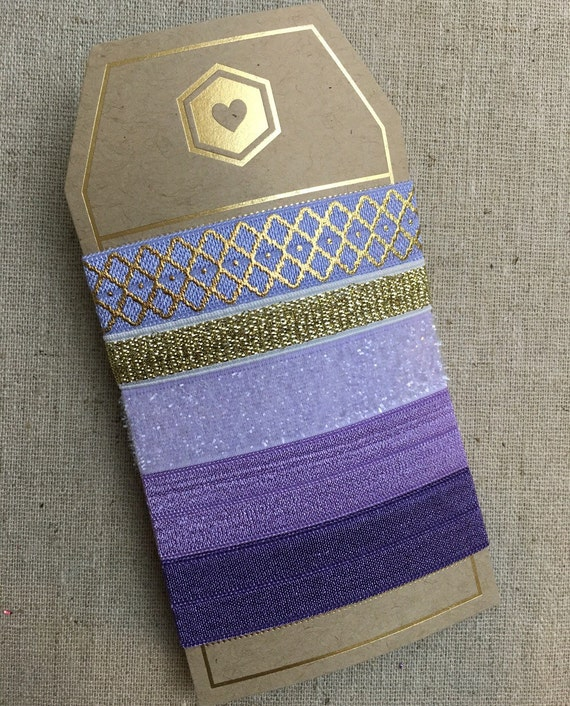 Lilac Quatrefoil - Gift Set of 5 Perfect Hair Ties