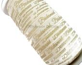 "Gold Bridesmaid on Cream Elastic - FOE Fold Over Elastic - 5/8"" Metallic Foil Print Headbands - Hair Ties - Shiny - Bridal Shower - Wedding"