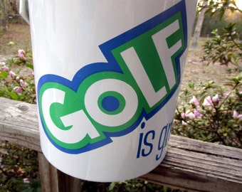 GOLF is GREAT Ice Bucket 19Th Hole Giacalone Lime Green Blue Chrome Designer Signed