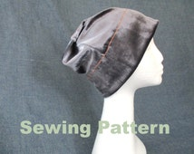 women men jersey slouchy summer winter beanie hat sewing pattern, 11 sizes, head circumference range: 20 7/8 - 24 7/8 inches / 53 - 63 cm