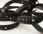 Black And White Hearts And Kisses Print Ribbon 15mm