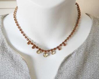 Old Prong Set Rhinestone Necklace