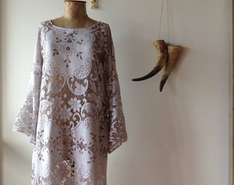 Womens Vintage Nottingham Lace Evening Dress.size 8 to 14.made to order.