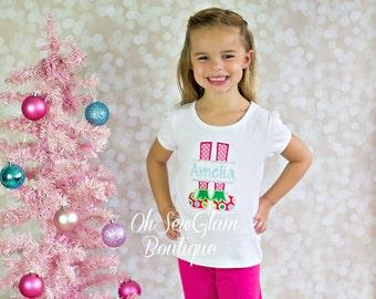 Elf Feet - Girls Christmas Embroidered Shirt - Christmas Monogram Shirt  - Appliqué Shirt - Embroidered Shirt - First Christmas Shirt