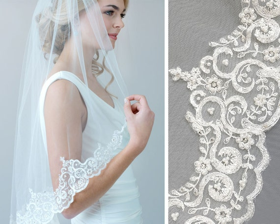 Pearl Lace Wedding Veil Rhinestone Bridal Veil Lace