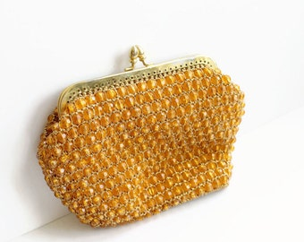 Vintage Orange Beaded Clutch Purse, Retro 1960's Orange and Gold Purse, Marcus Brothers, Circa 1960's