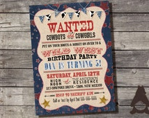 Cowboy Wild West Birthday Invitation, Outlaw Wanted, Cowboys & Cowgirls Party, Printable Invitation for Kids Birthday Party
