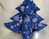 Dark Blue Holiday Tree - Shiny Silver Snowflakes - Extra Large