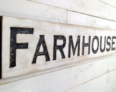 "Farmhouse Sign Horizontal - Carved in a 48"" Long Cypress Board Rustic Distressed Shop Advertisement Fixer Upper Style  Wooden Gift"
