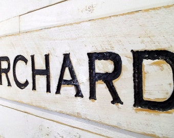"Orchard Sign 40""x10"" - Carved in a Cypress Board Rustic Distressed Shop Advertisement Farmhouse Style Wooden Produce Primitive Garden Gift"