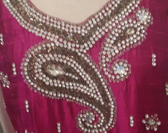 Beautiful Indian Beaded Pink Silk tunic dress