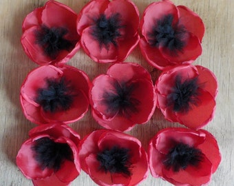 Large Red Poppy Applique Brooch Pin Flower Hair Accessories Handmade Bridesmaid Hair Clip